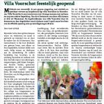 Artikel Wassenaarse krant Opening Villa Voorschot Pauline Hillen ontvangt Parel van Voorschoten, juni.2015